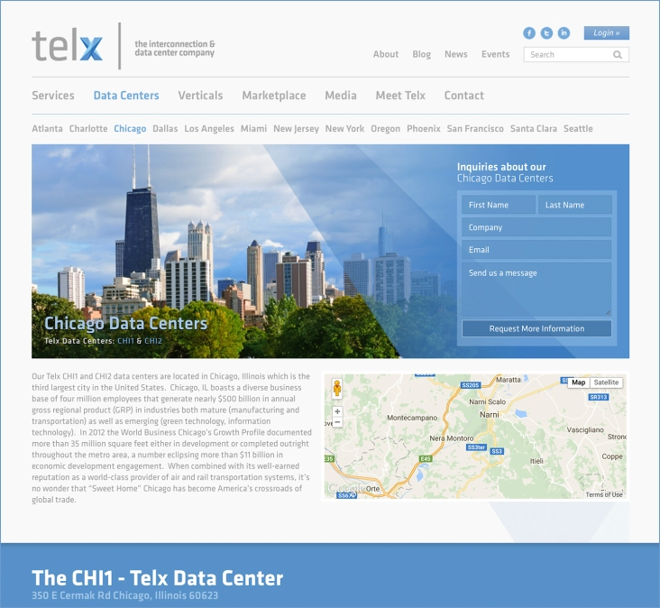 Telx.com home page layout and design